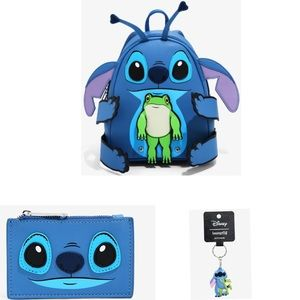 LOUNGEFLY STITCH & THE FROG BACKPACK 3 PIECE SET